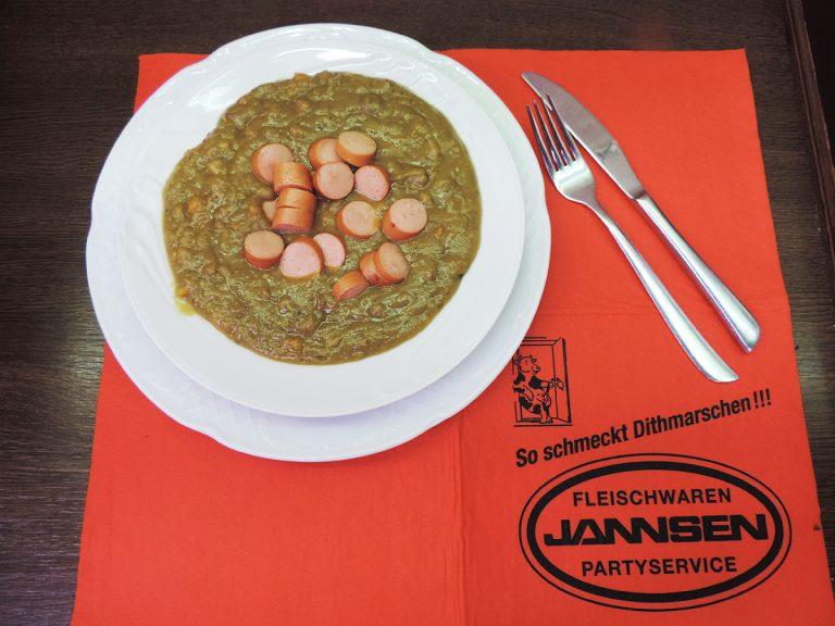 Erbseneintopf zum Mittag von Jannsen Fleischwaren